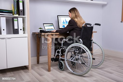 1144373653 istock photo Disabled Businesswoman Working On Computer 958332754