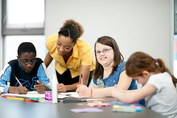 Disabled Children in Art Class stock photo