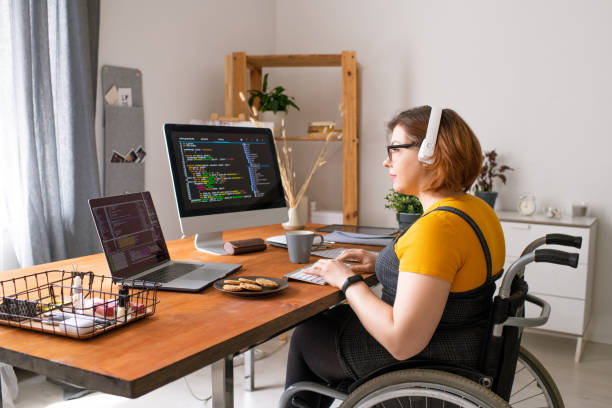 Disabled coder working from home stock photo