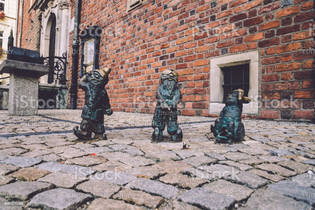 Disabled Dwarfs Statues in Wroclaw stock photo