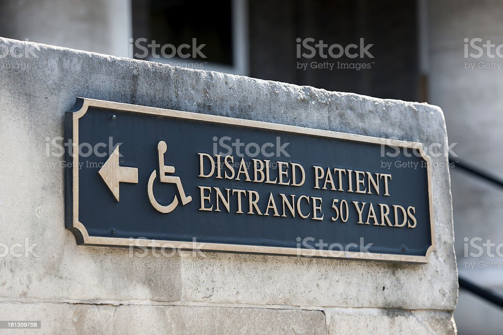 Disabled handicap entrance sign stock photo