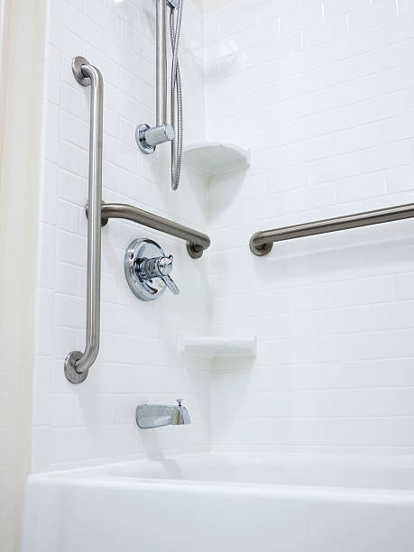 Disabled Handicapped Shower with Grab Bars stock photo