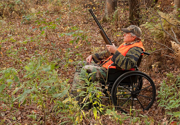 disabled hunter stock photo