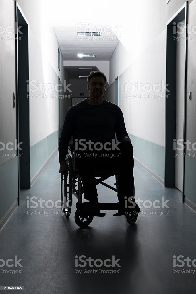 Disabled Man In Hospital stock photo