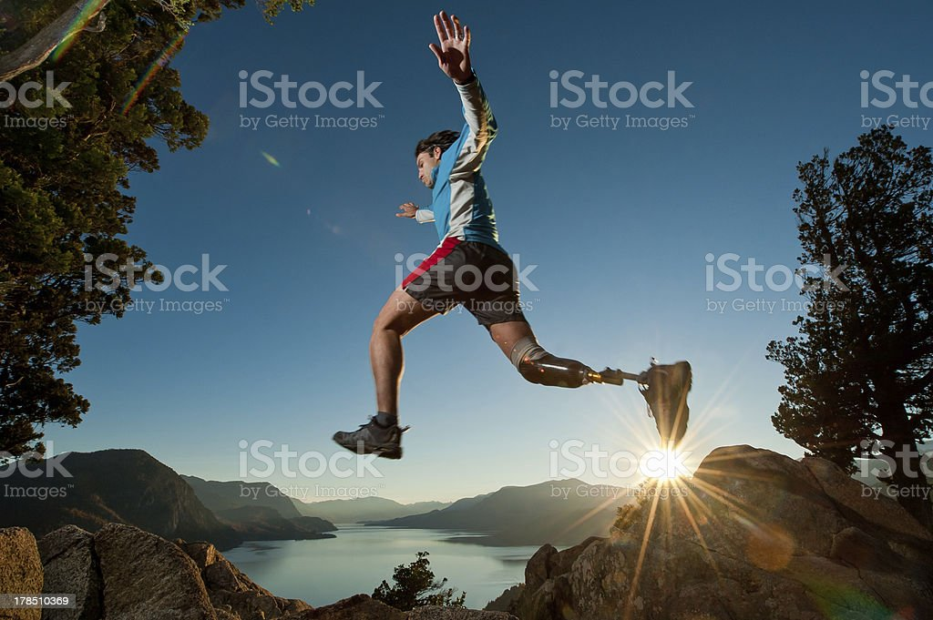 Disabled man juming stock photo
