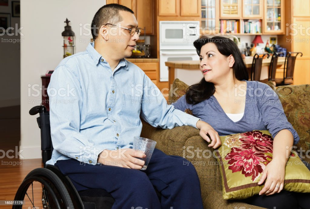 Disabled Man With Wife royalty-free stock photo