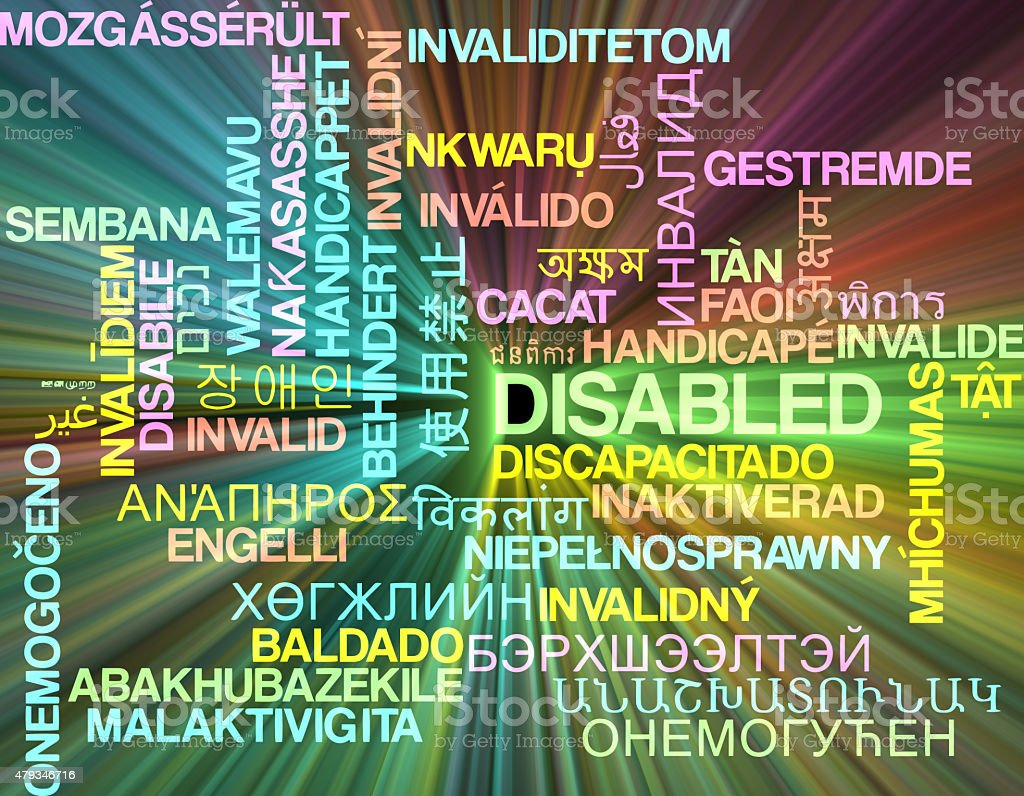 Disabled multilanguage wordcloud background concept glowing stock photo