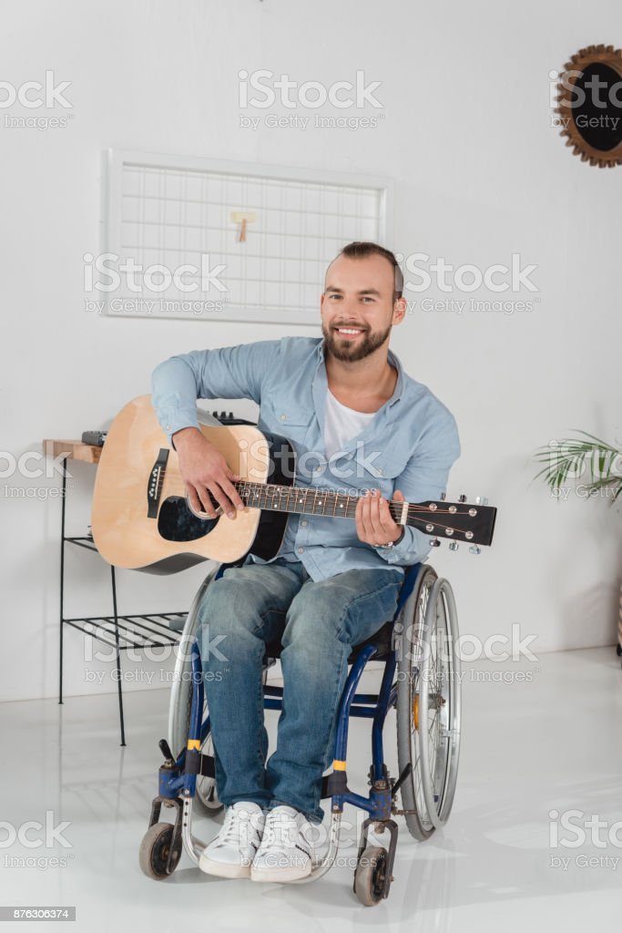 disabled musician stock photo