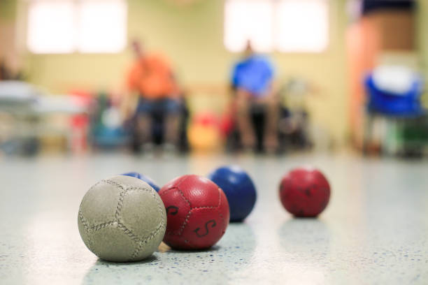 Disabled persons playing Boccia stock photo