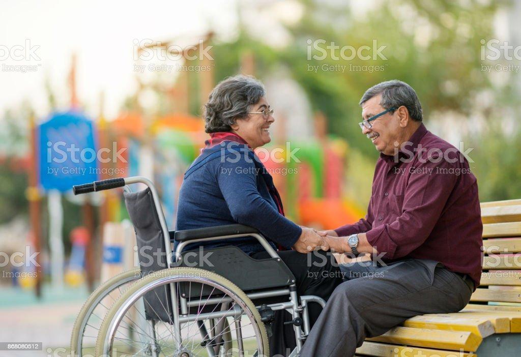 Disabled Senior Couple stock photo
