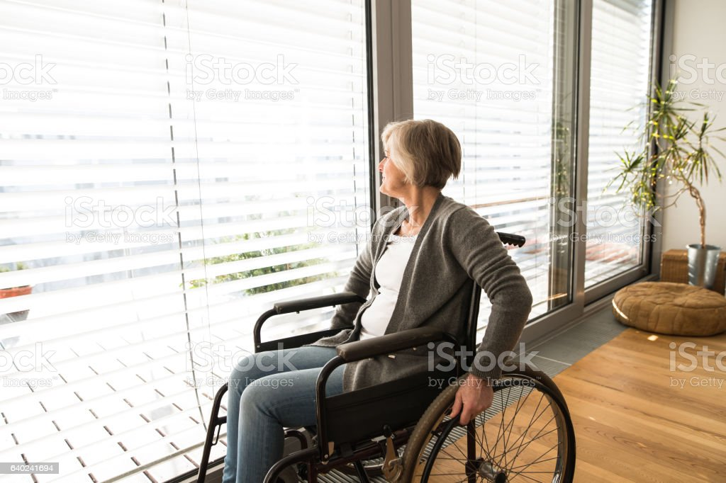 Disabled senior woman in wheelchair at home in living room. - foto de stock