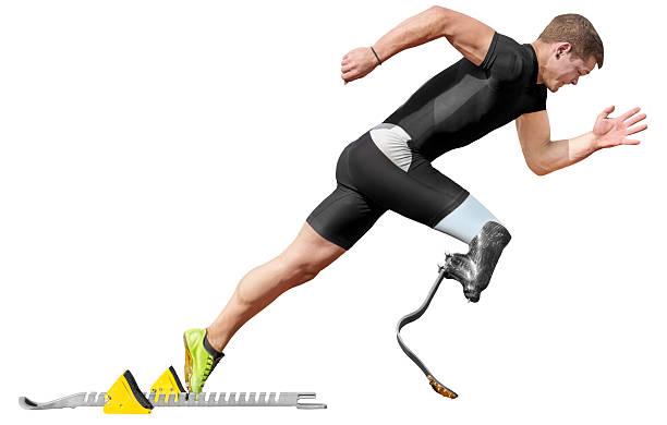 disabled sprinter start block isolated - protesutrustning bildbanksfoton och bilder