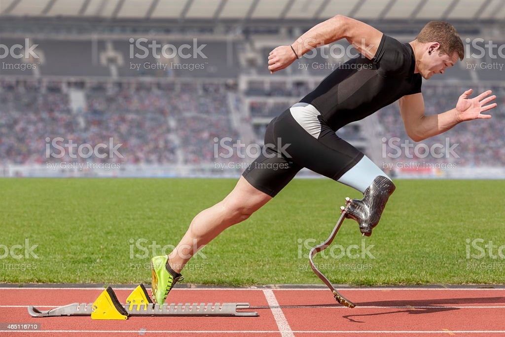 disabled sprinter start block stock photo