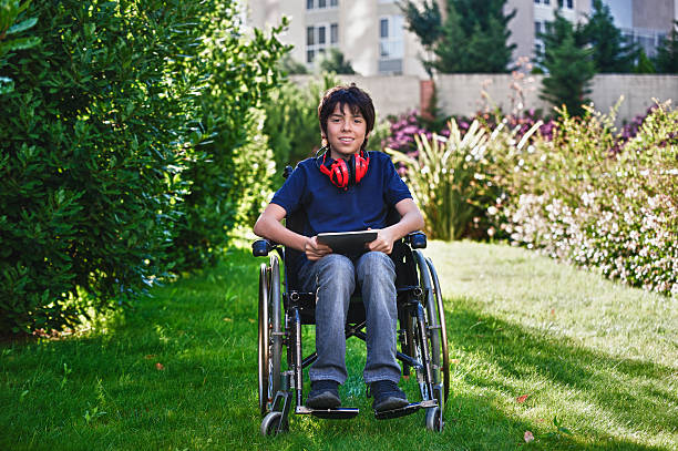 Disabled teen stock photo