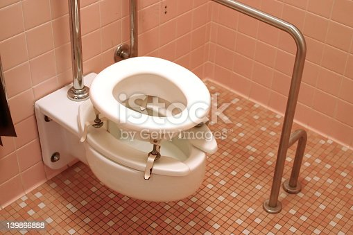 istock A disabled toilet with metal frame 139866888