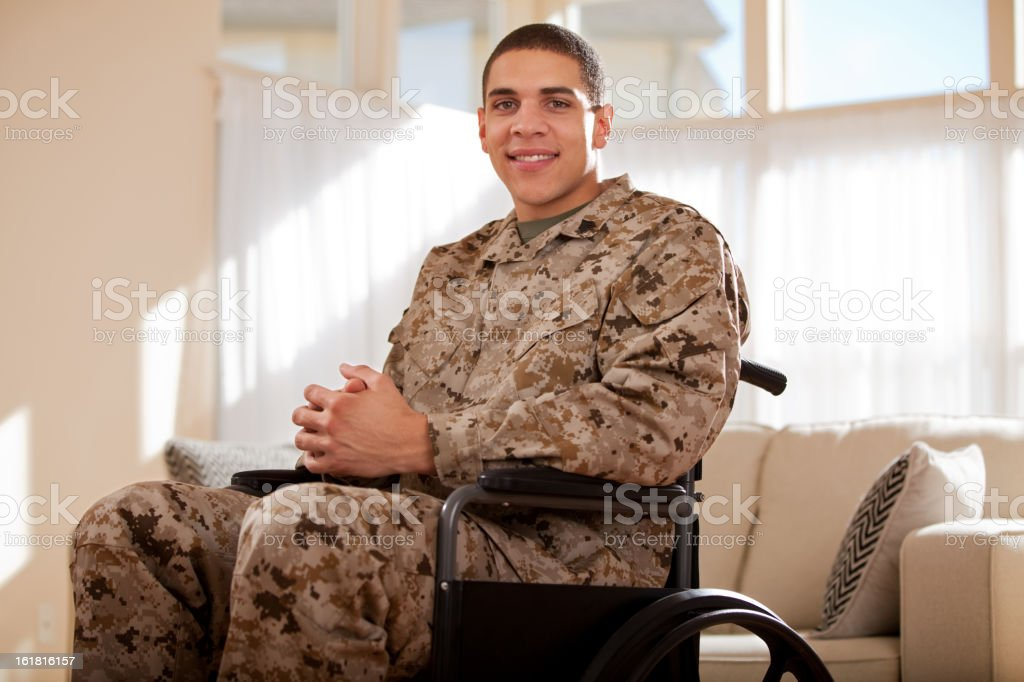 Disabled Veteran US Marine Soldier in Wheelchair stock photo