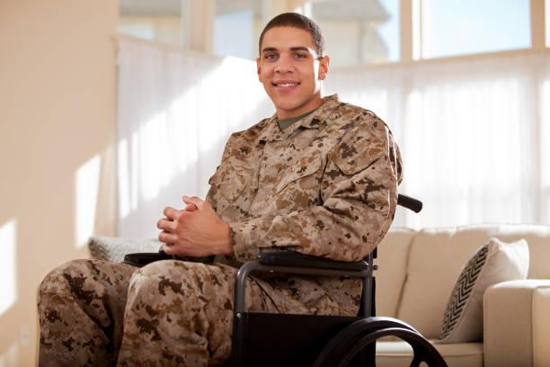 Disabled Veteran US Marine Soldier in Wheelchair stock photo