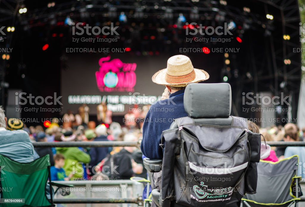 Disabled viewing platform at Womad stock photo