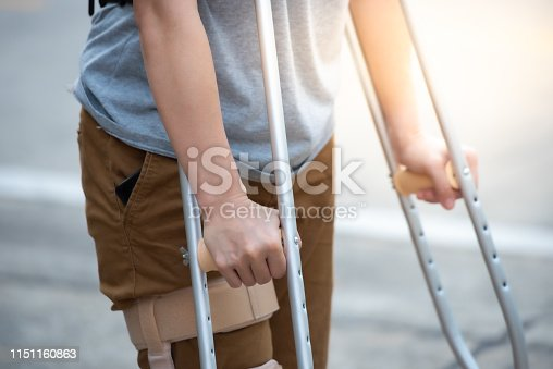 istock Disabled woman with crutches or walking stick or knee support standing in back side,half body. 1151160863