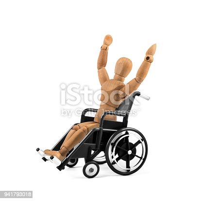 941792734istockphoto disabled wooden mannequin in wheelchair is happy - winnig? having fun? 941793018