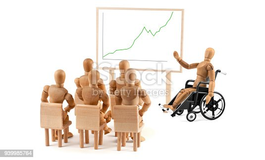 941792734istockphoto disabled Wooden Mannequin in wheelchair talking to a group of people 939985764