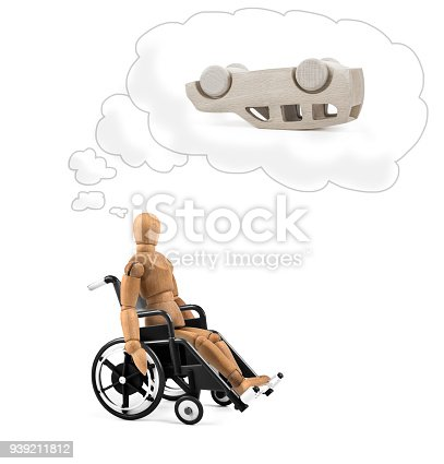 941792734istockphoto Disabled wooden mannequin in wheelchair thinking about cause, problems or future 939211812