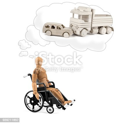 941792734istockphoto Disabled wooden mannequin in wheelchair thinking about cause, problems or future 939211852