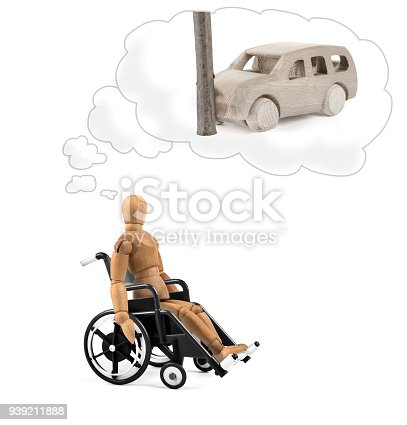 941792734istockphoto Disabled wooden mannequin in wheelchair thinking about cause, problems or future 939211888