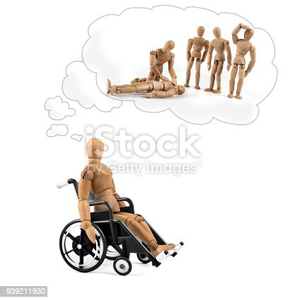 941792734istockphoto Disabled wooden mannequin in wheelchair thinking about cause, problems or future 939211930