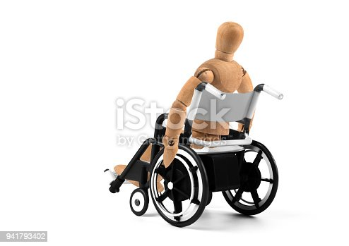 941792734istockphoto disabled wooden mannequin sitting in wheelchair 941793402