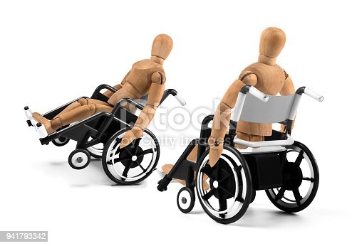 941792734istockphoto disabled wooden mannequins in wheelchair talking together 941793342