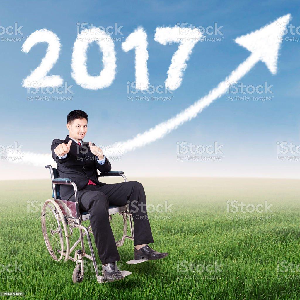 Disabled worker in under upward and 2017 zbiór zdjęć royalty-free