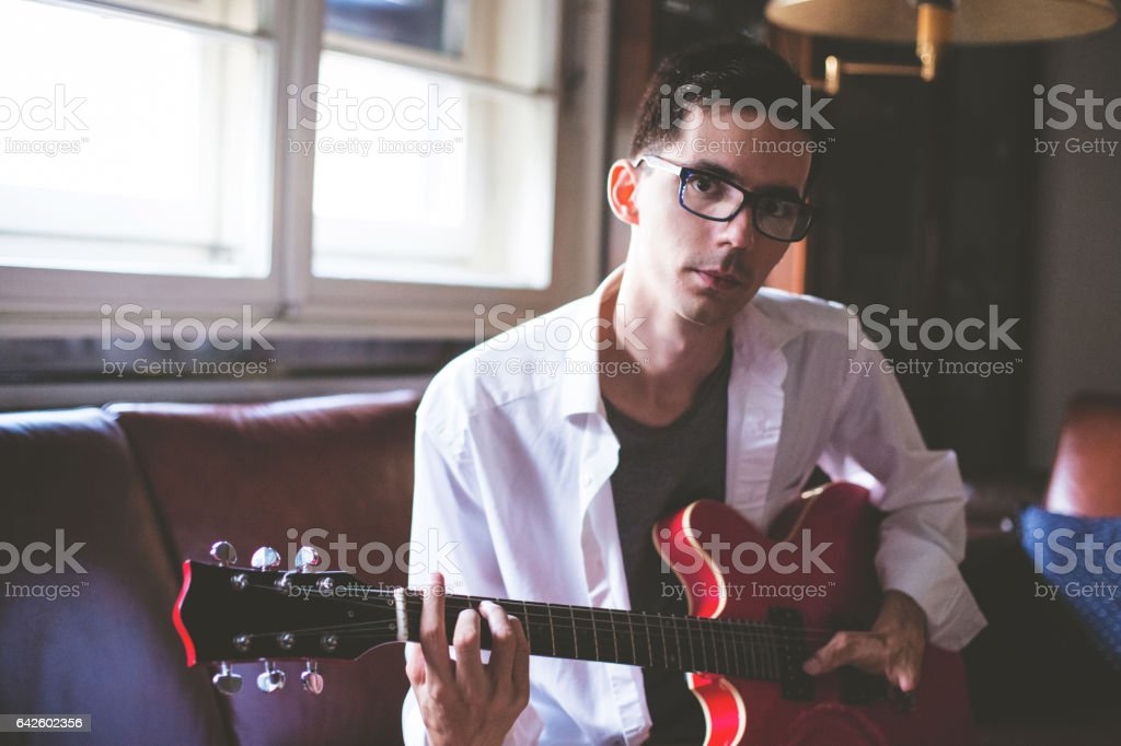 Disabled Young Musician stock photo