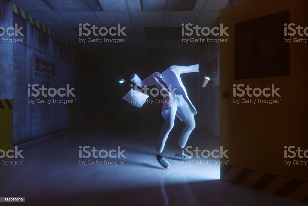 Disappearing scientist in secret government underground facility stock photo