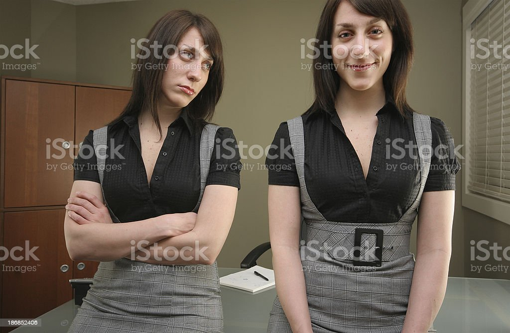 Disappointed and Happy Businesswoman royalty-free stock photo