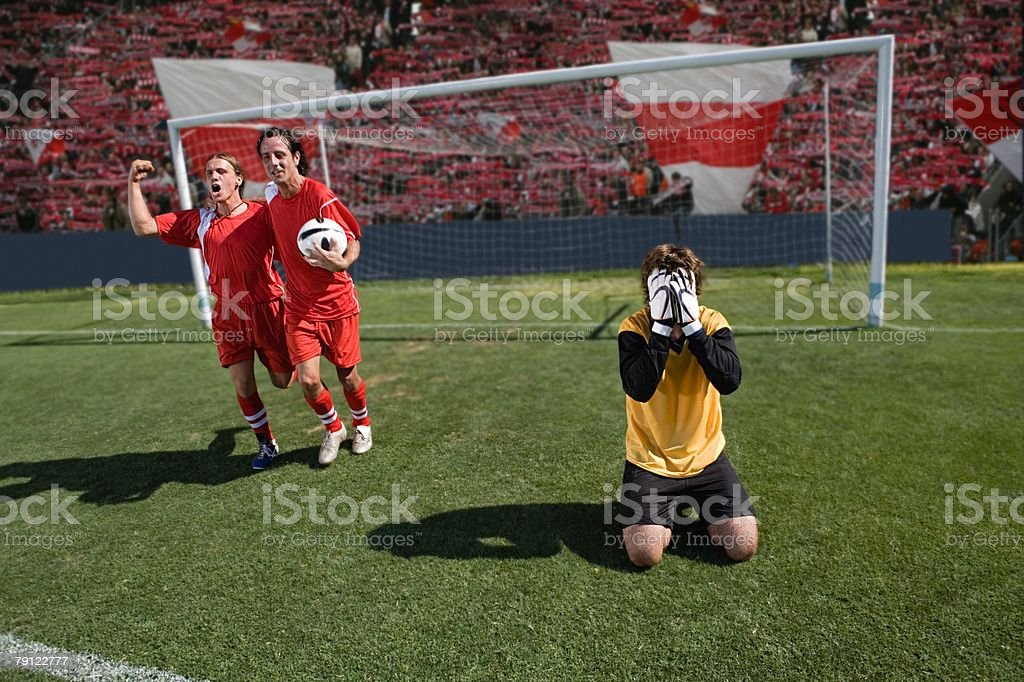Disappointed goalkeeper 免版稅 stock photo
