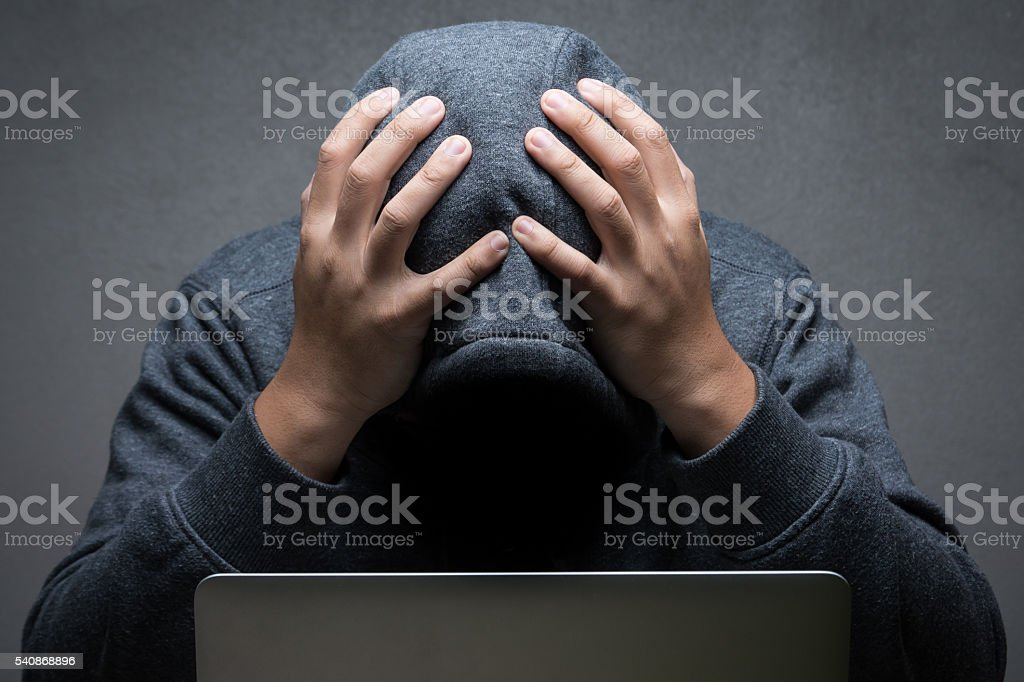 disappointed hacker stock photo