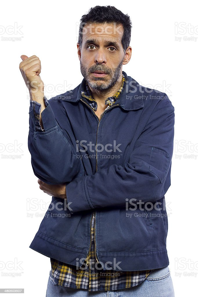Disappointed Hitchhiker Pointing Backwards royalty-free stock photo