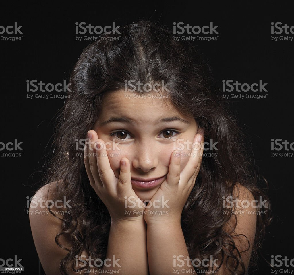 Disappointed little girl stock photo