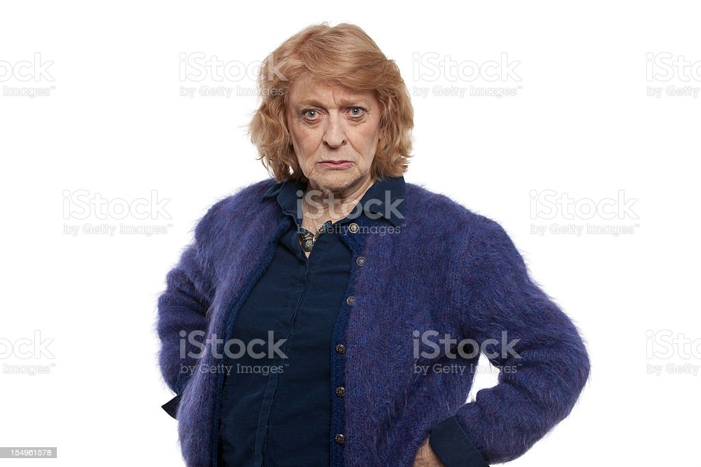 Disappointed senior woman stock photo