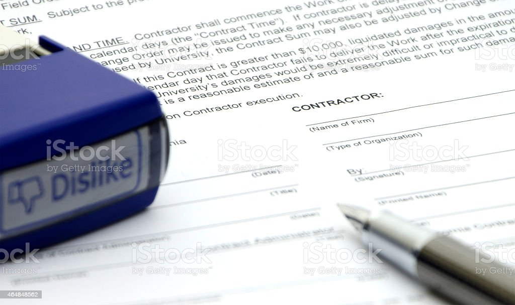 Disapprove the employment contract stock photo