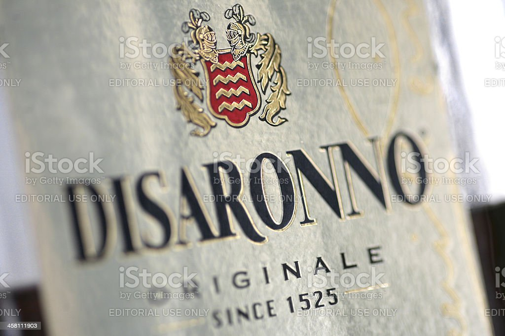 Disaronno Originale bottle detail stock photo