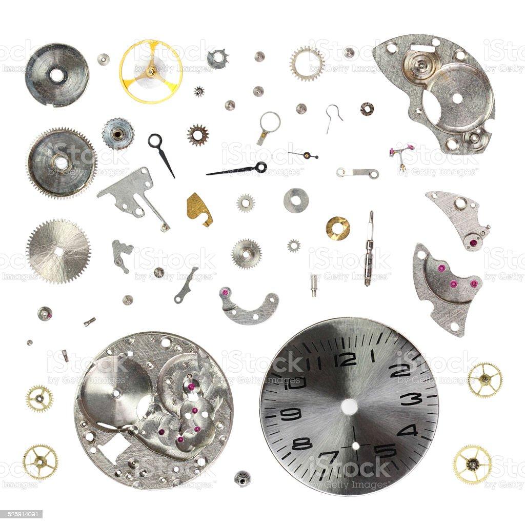 Разбирать Старый Механический Наручные часы изолированные на белом фоне стоковое фото