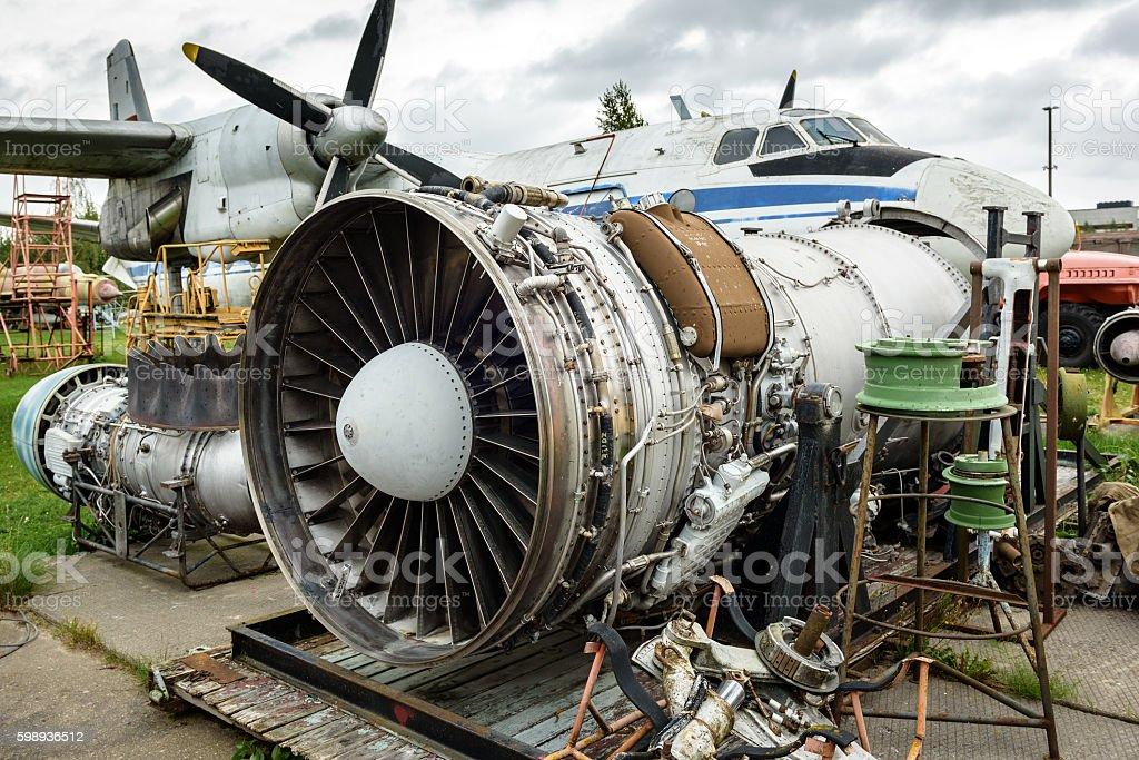Disassembled broken aircraft engine stock photo