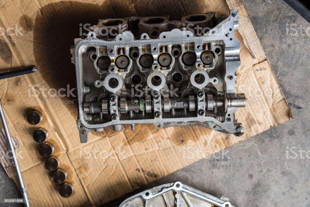 Disassembled Car Dirty Engine Closeup To Engine Parts And Cylinder
