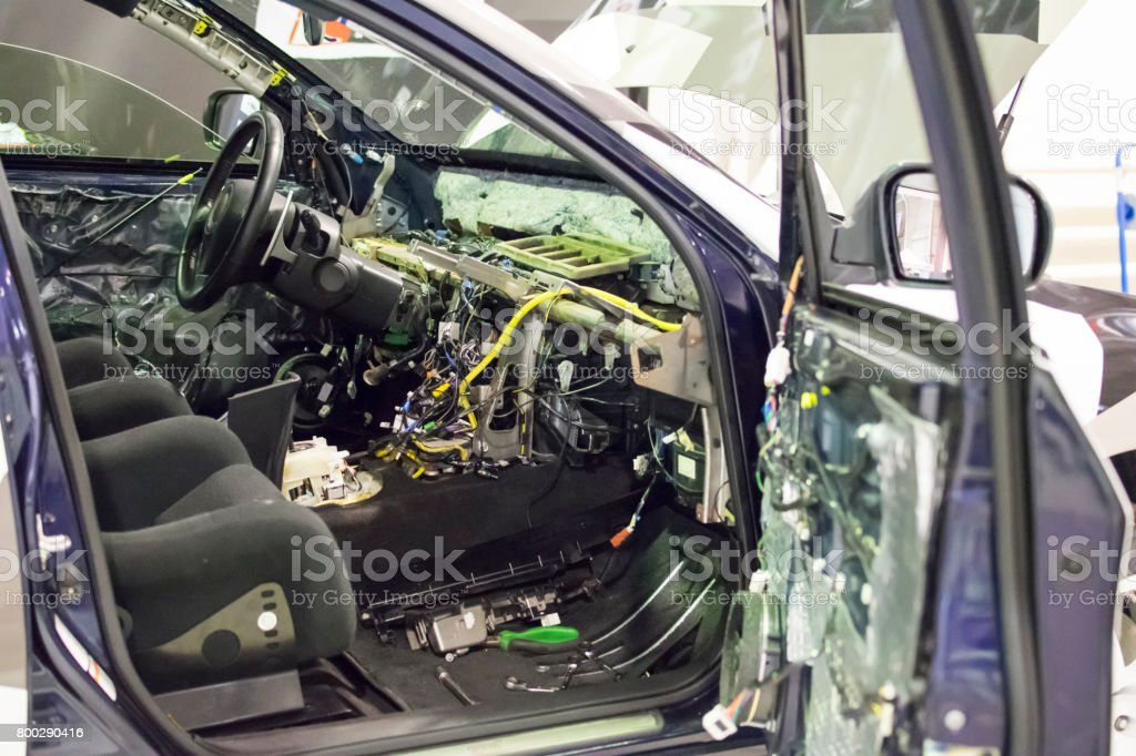 Disassembled car interior stock photo