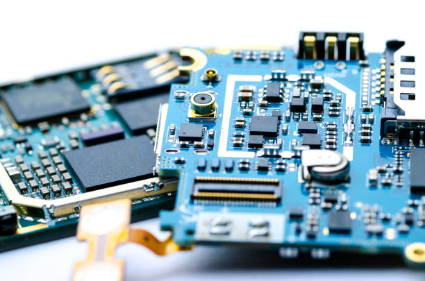 Disassembled electronic boards with chips, electronic components and precious metals for recycling