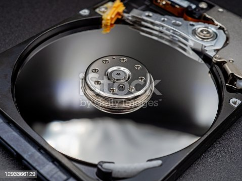 Components for PC. Open hard disk storage. Recovery and storage of information. magnetic disks inside HDD.