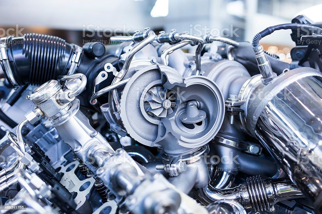 Disassembled parts of sports vehicle motor stock photo