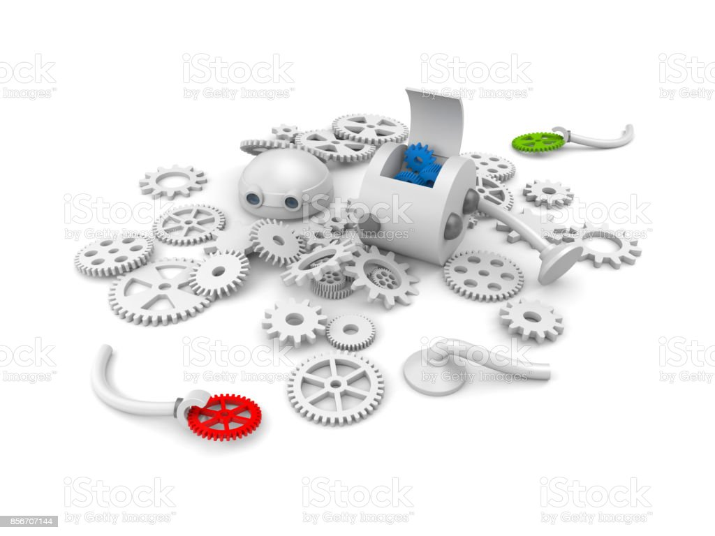 Disassembled robot with details of its mechanism. For your website projects. 3d illustration stock photo